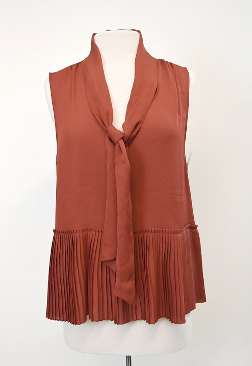 Frame Rust Pleated Silk Top Size Large