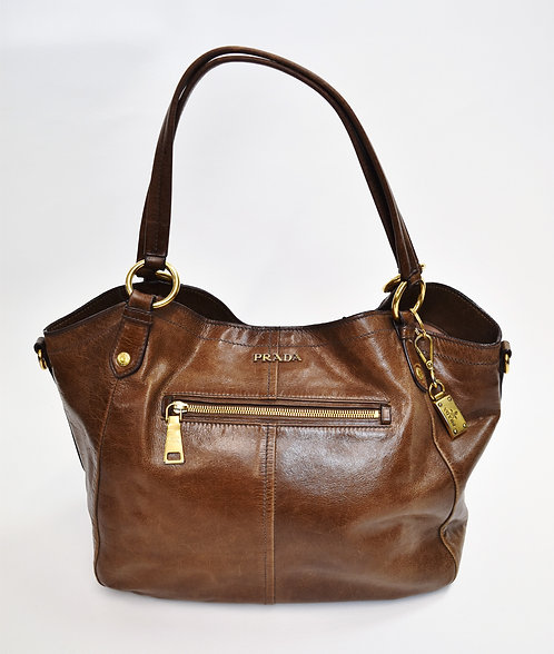 Prada Brown Leather Over Sized Tote