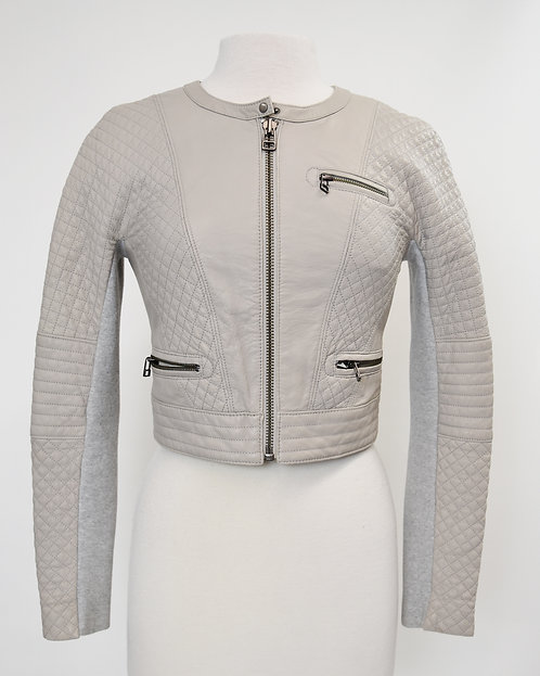 Yigal Azrouel Gray Quilted Leather Jacket Size XS