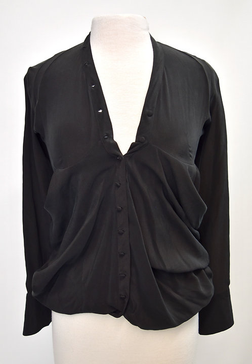 Balenciaga Black Button-Down Blouse Size Small