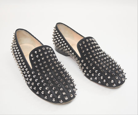 Christian Louboutin Black Suede Spike Loafers Size 9
