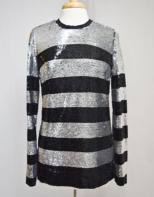 Beau Souci Black & Silver Sequin Sweater Size Small