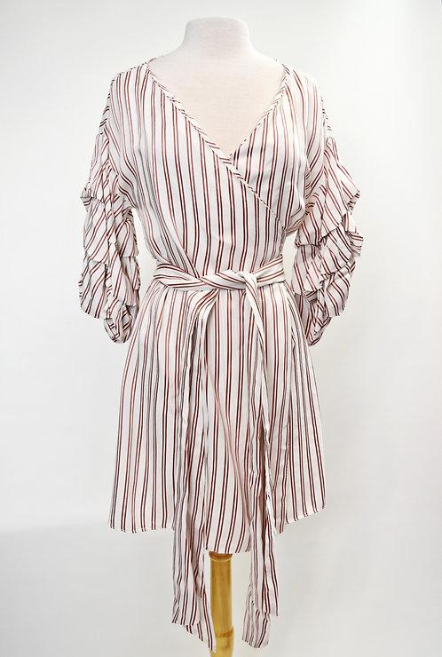 Alexis White & Red Stripe Wrap Dress Size Medium