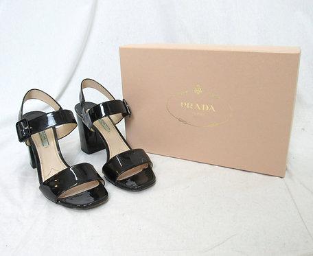 Prada Black Patent Leather Heeled Sandals Size 9.5