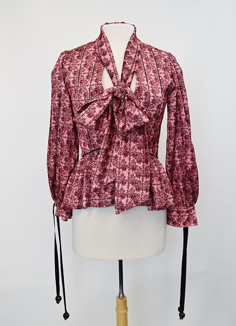 Lug Von Siga Pink Floral Blouse Size Small