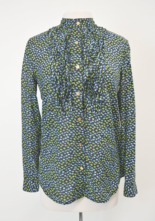 Tory Burch Navy & Green Print Blouse Size Small (6)