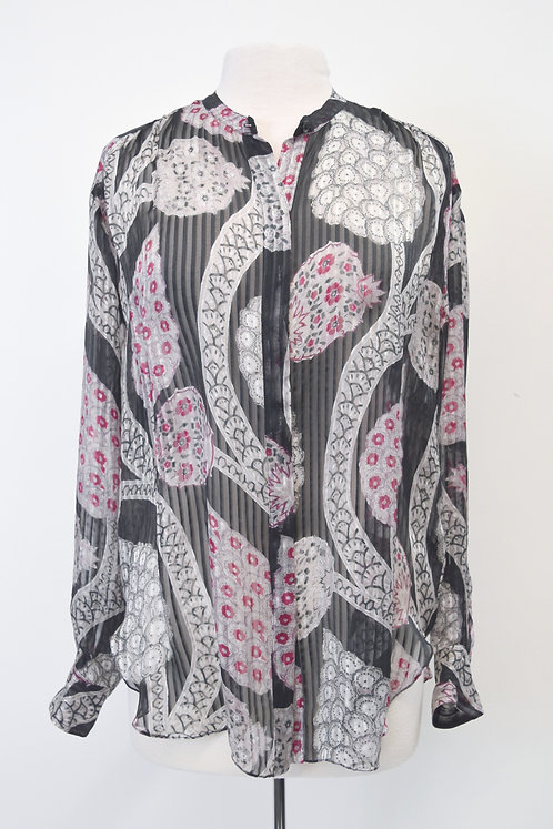 Isabel Marant Gray & Purple Print Silk Blouse Size Small (6)