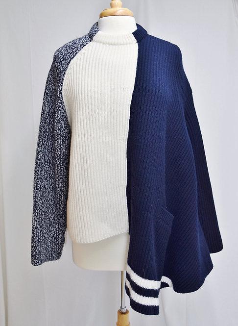 MRZ Cream & Navy Mutli Knit Sweater Size Large
