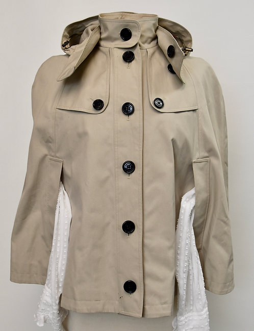 Burberry Beige Hooded Cape Size Small