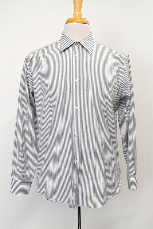 Hermes Blue Stripe Dress Shirt Size Large