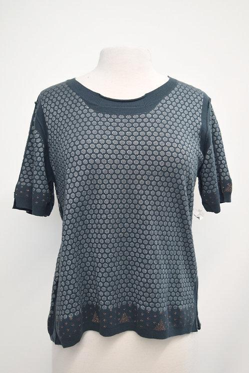 Cotelac Teal Metallic Knit Top Size Large