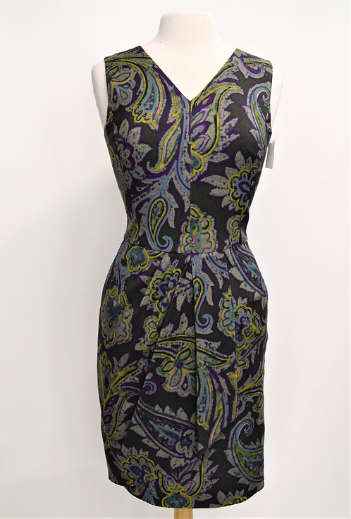 Etro Gray & Green Print Dress Size Small