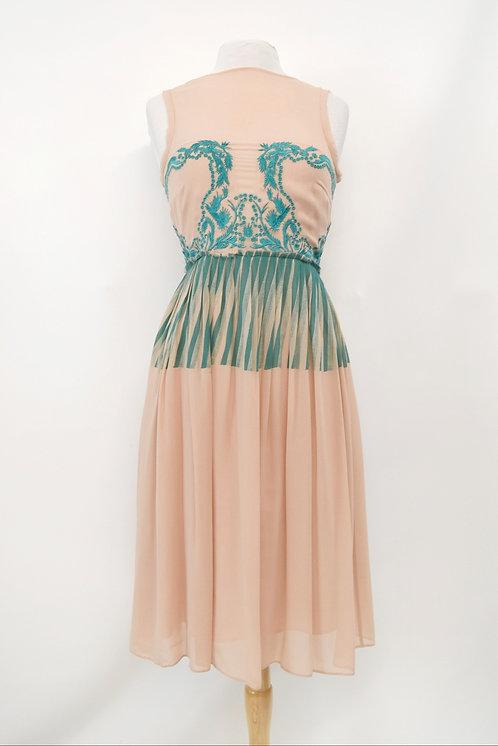 Nicole Miller Blush & Turquoise Silk Dress Size Small (4)