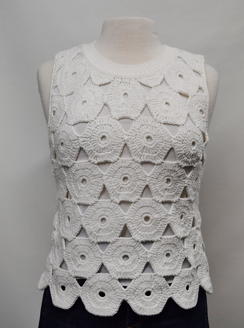 Alice & Olivia By Stacey Bendet White Woven Top Size Small