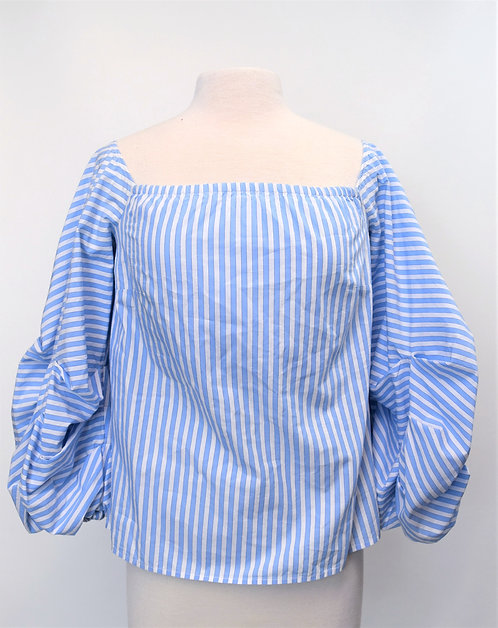 Petersyn Blue Stripe Blouse Size Small