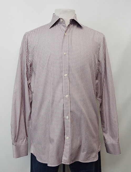 Burberry White & Maroon Check Shirt Size Large