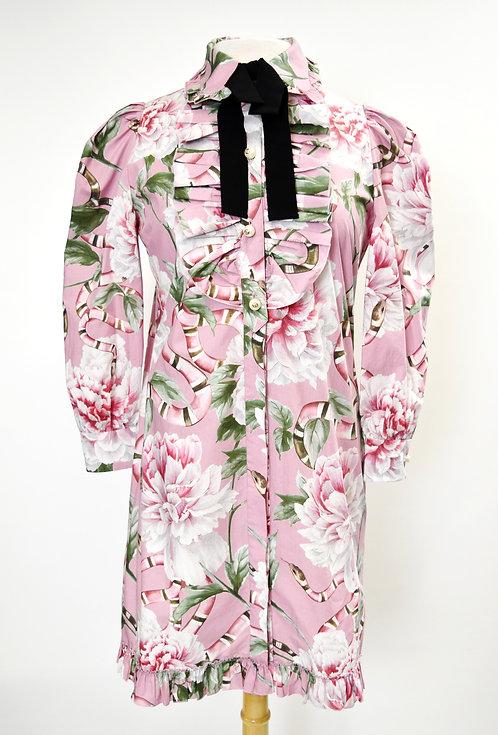 Gucci Pink Floral & Snake Print Dress Size Medium