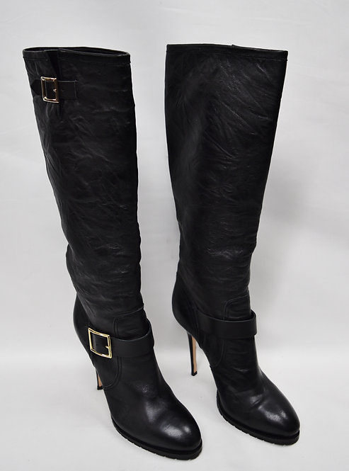 Jimmy Choo Black Leather Knee High Boots Size 12