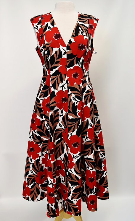 Kate Spade Red & Tan Floral Dress Size 10