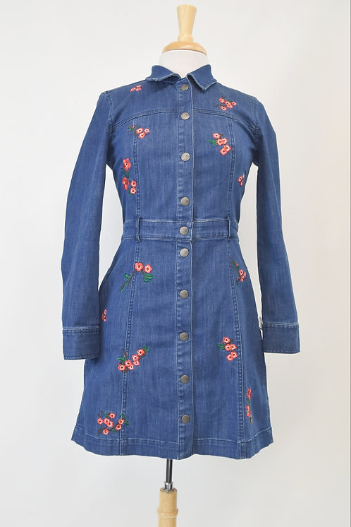 Madewell Embroidered Denim Dress Size Small (4)