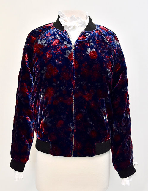 Joie Navy & Red Floral Velvet Bomber Jacket Size Medium