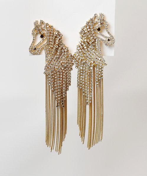 Kate Spade Gold Horse Dangling Earrings