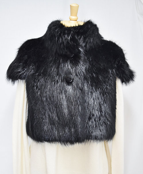 Barbara Bui Black Beaver Fur Bolero Jacket Size Small