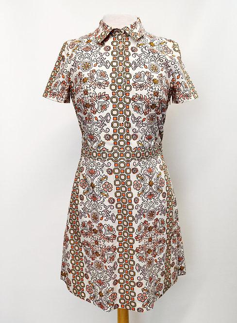 Tory Burch White Print Dress Size Small (4)