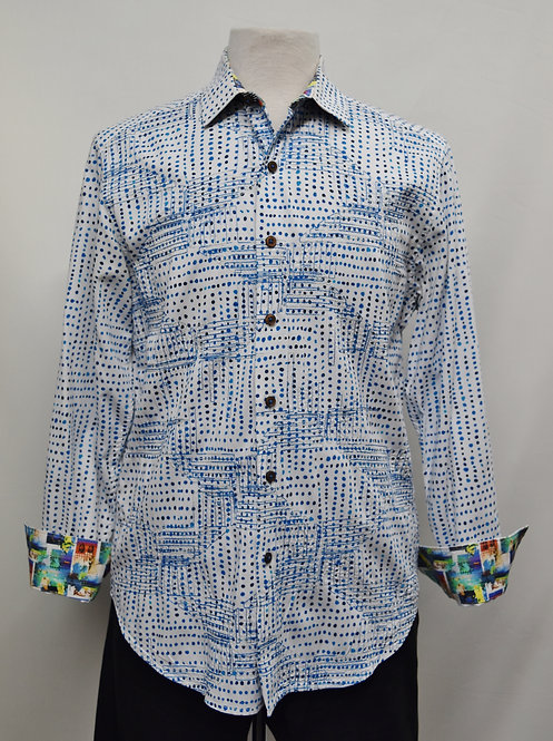 Robert Graham Blue Polka Dot Shirt Size Medium