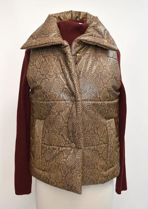Nanushka Brown Snake Puffer Vest Size Small