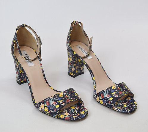 L.K. Bennett Navy Floral Leather Heels Size 9