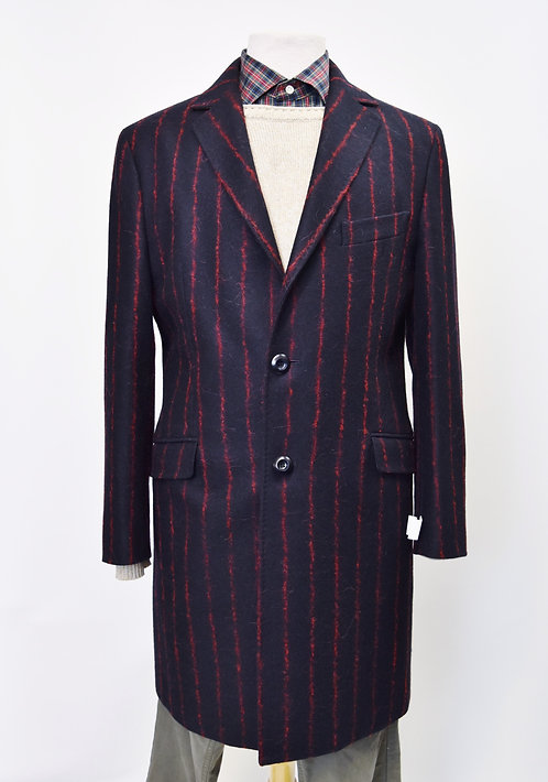 Etro Navy & Red Stripe Wool Coat Size Medium