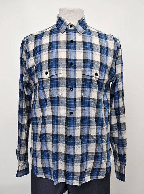 Saint Laurent Blue Plaid Shirt Size Medium