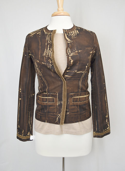Prada Brown Print Spring Jacket Size XS