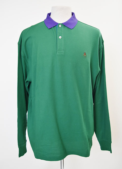 Paul Stuart Green Long Sleeve Polo Size Large