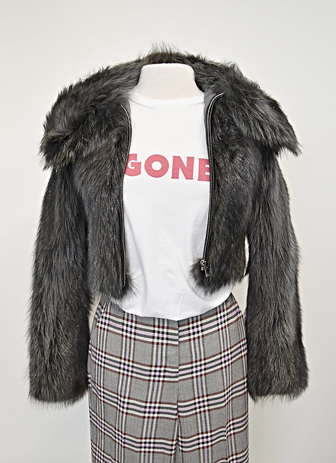 Prabal Gurung Silver Fox Fur Jacket Size XS