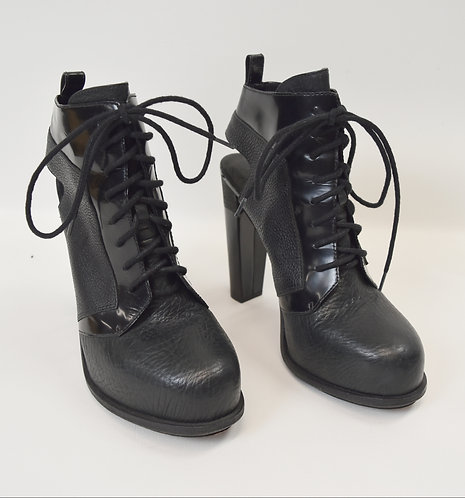 Alexander Wang Black Leather Lace-Up Booties Size 10