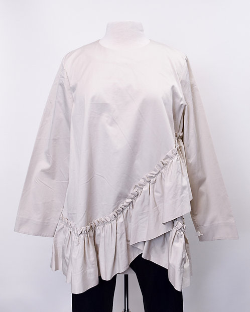 COS Beige Ruffle Blouse Size Large