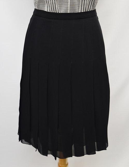 Chanel Black Pleated Chiffon Skirt Size 12