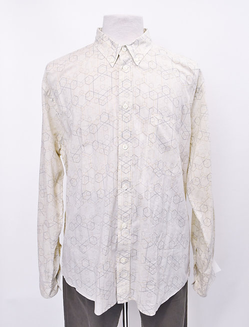 Billy Reid Ivory Geometric Print Shirt Size XL
