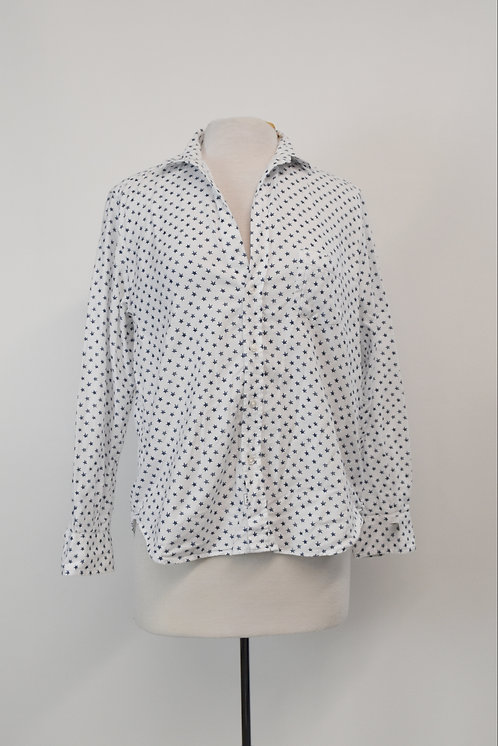 Frank & Eileen White Star Print Blouse Size XS