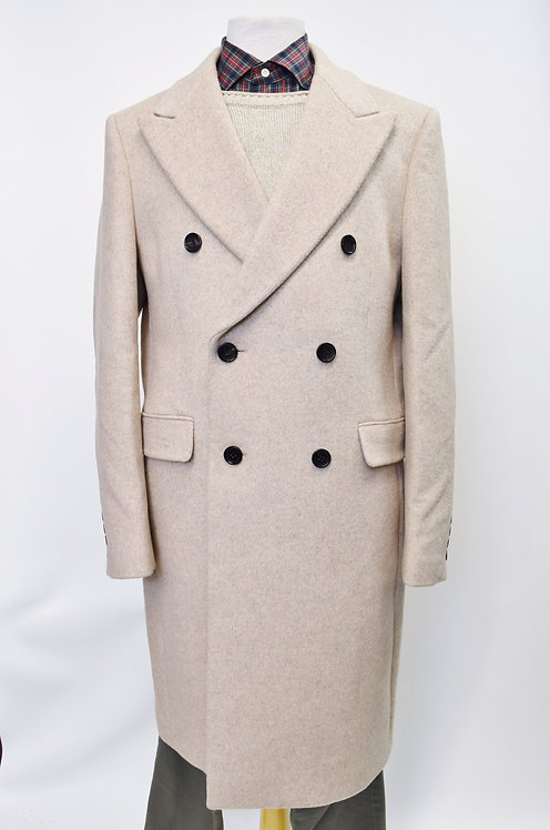 Reiss Beige Double Breasted Wool Coat Size XL