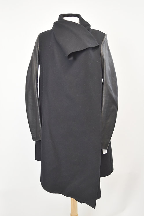 AllSaints Black Wool & Leather Coat Size Small (6)