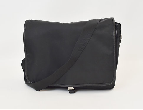 Prada Black Nylon & Leather Messenger Bag