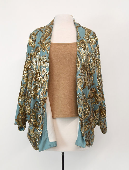 Anthropologie Turquoise & Gold Sequin Jacket Size Med/Large