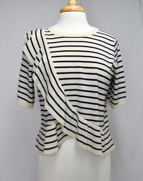 Joie White & Black Stripe Knit Top Size Medium