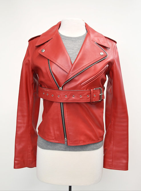 Celine Red Calfskin Leather Moto Jacket Size Small