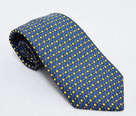 Hermes Blue Print Silk Tie