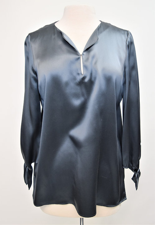 Lafayette 148 Silver Silk Blouse Size Medium