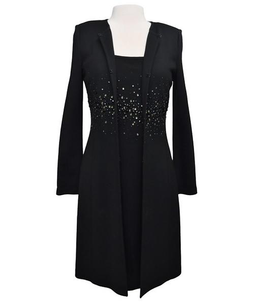 St. John Black Sequin Jacket & Dress Set Size 6/8